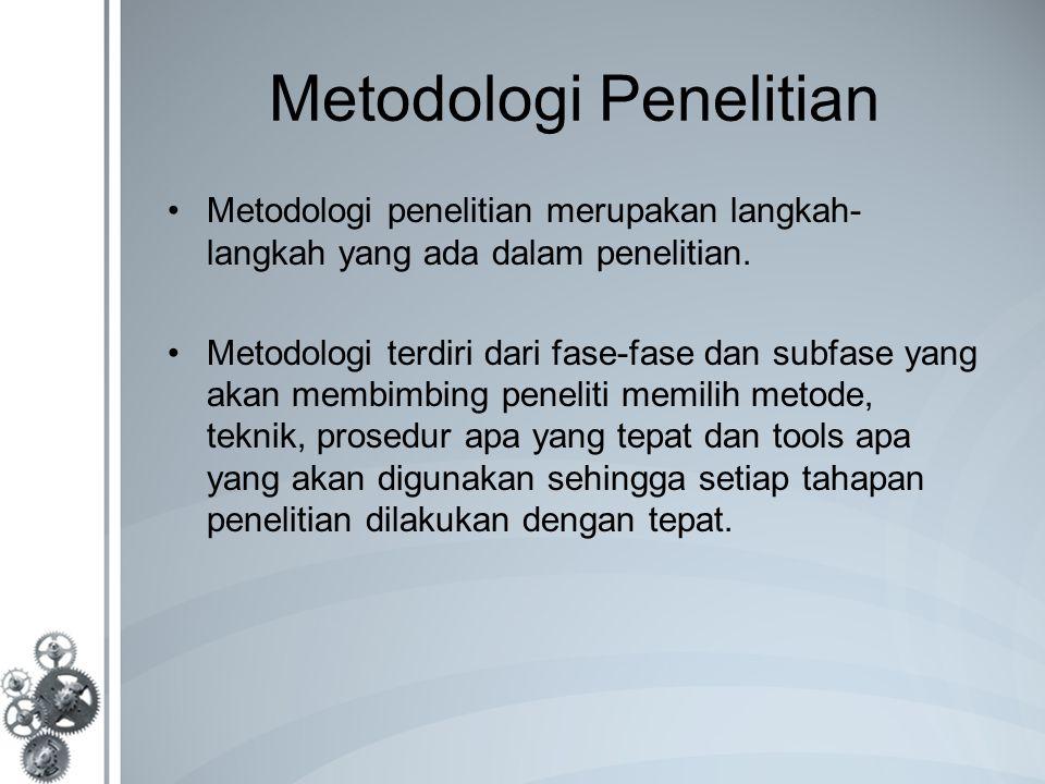 Metodologi Penelitian Metodologi penelitian merupakan langkah- langkah yang ada dalam penelitian. Metodologi terdiri dari fase-fase dan subfase yang a