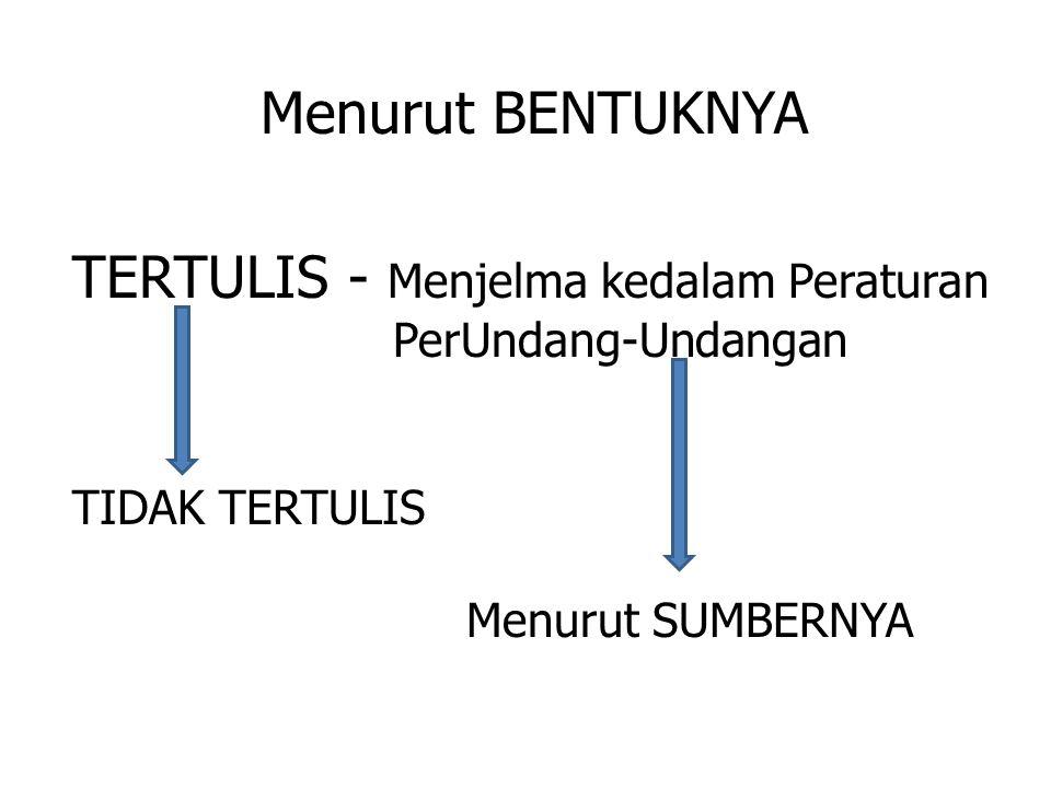 Menurut BENTUKNYA TERTULIS - Menjelma kedalam Peraturan PerUndang-Undangan TIDAK TERTULIS Menurut SUMBERNYA