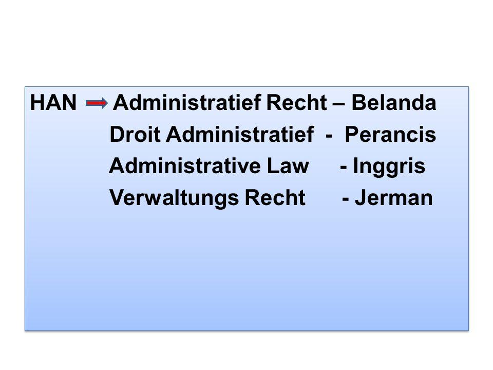HAN Administratief Recht – Belanda Droit Administratief - Perancis Administrative Law - Inggris Verwaltungs Recht - Jerman HAN Administratief Recht –