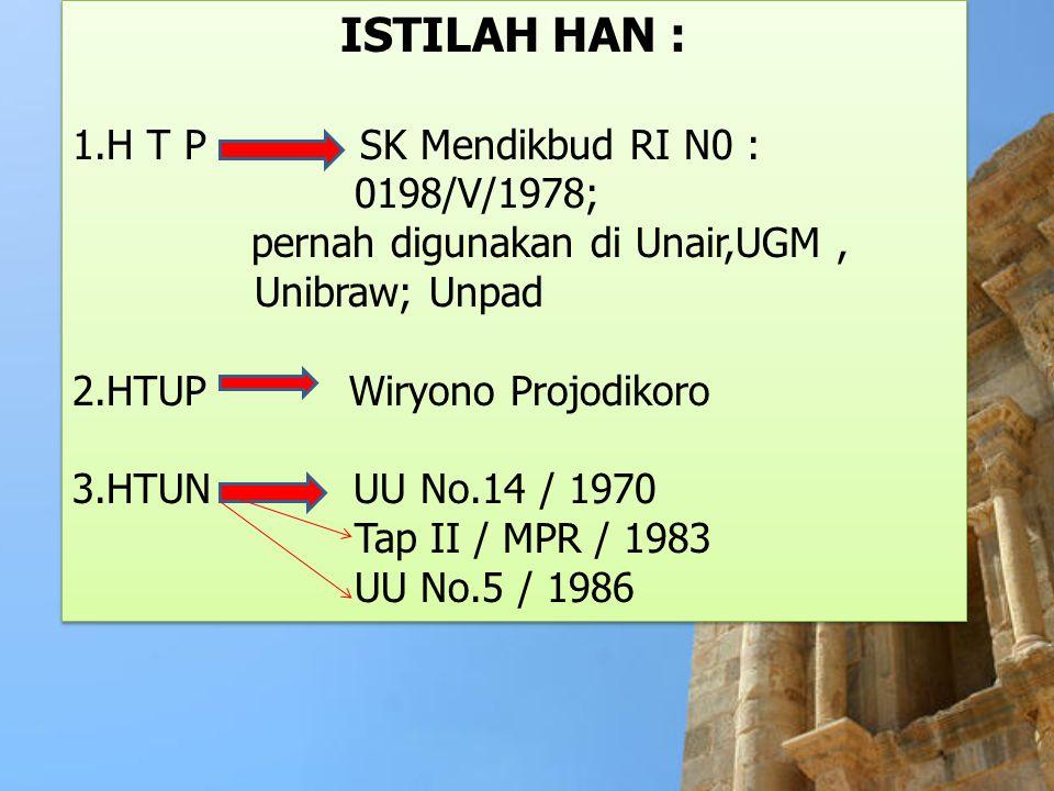 ISTILAH HAN : 1.H T P SK Mendikbud RI N0 : 0198/V/1978; pernah digunakan di Unair,UGM, Unibraw; Unpad 2.HTUP Wiryono Projodikoro 3.HTUN UU No.14 / 197