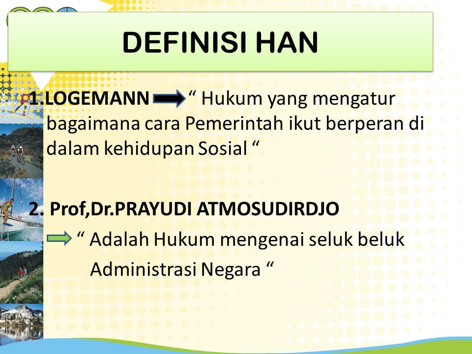 """DEFINISI HAN 1.LOGEMANN """" Hukum yang mengatur bagaimana cara Pemerintah ikut berperan di dalam kehidupan Sosial """" 2. Prof,Dr.PRAYUDI ATMOSUDIRDJO """" Ad"""