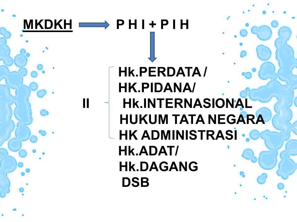 MKDKH P H I + P I H Hk.PERDATA / HK.PIDANA/ II Hk.INTERNASIONAL HUKUM TATA NEGARA HK ADMINISTRASI Hk.ADAT/ Hk.DAGANG DSB