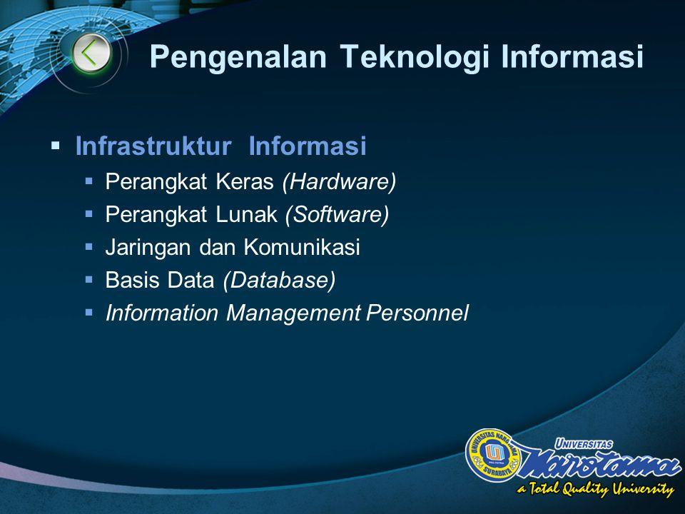 LOGO Pengenalan Teknologi Informasi  Infrastruktur Informasi  Perangkat Keras (Hardware)  Perangkat Lunak (Software)  Jaringan dan Komunikasi  Basis Data (Database)  Information Management Personnel