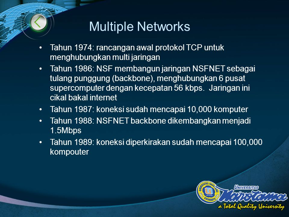 LOGO Multiple Networks Tahun 1974: rancangan awal protokol TCP untuk menghubungkan multi jaringan Tahun 1986: NSF membangun jaringan NSFNET sebagai tulang punggung (backbone), menghubungkan 6 pusat supercomputer dengan kecepatan 56 kbps.