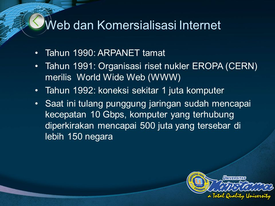 LOGO Web dan Komersialisasi Internet Tahun 1990: ARPANET tamat Tahun 1991: Organisasi riset nukler EROPA (CERN) merilis World Wide Web (WWW) Tahun 1992: koneksi sekitar 1 juta komputer Saat ini tulang punggung jaringan sudah mencapai kecepatan 10 Gbps, komputer yang terhubung diperkirakan mencapai 500 juta yang tersebar di lebih 150 negara