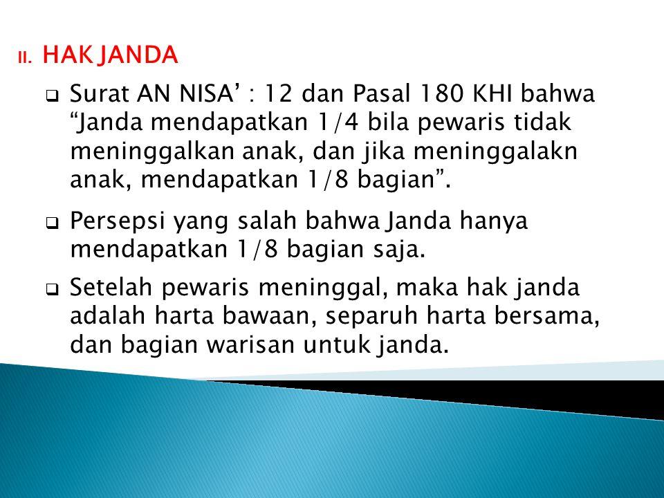 """ Surat AN NISA' : 12 dan Pasal 180 KHI bahwa """"Janda mendapatkan 1/4 bila pewaris tidak meninggalkan anak, dan jika meninggalakn anak, mendapatkan 1/8"""
