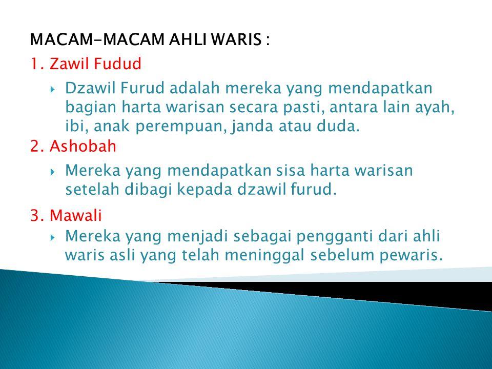 MACAM-MACAM AHLI WARIS : 1. Zawil Fudud  Dzawil Furud adalah mereka yang mendapatkan bagian harta warisan secara pasti, antara lain ayah, ibi, anak p