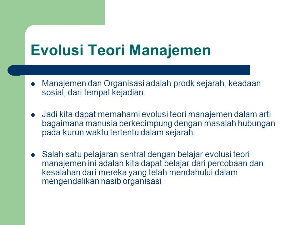 Evolusi Teori Manajemen Aliran Manajemen Ilmiah Aliran Teori Organisasi Klasik Aliran Tingkah Laku Ilmu Manajemen Pendekatan Sistem Pendekatan Komtingensi
