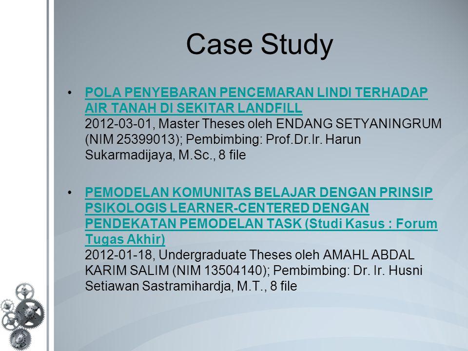 Case Study POLA PENYEBARAN PENCEMARAN LINDI TERHADAP AIR TANAH DI SEKITAR LANDFILL 2012-03-01, Master Theses oleh ENDANG SETYANINGRUM (NIM 25399013); Pembimbing: Prof.Dr.Ir.