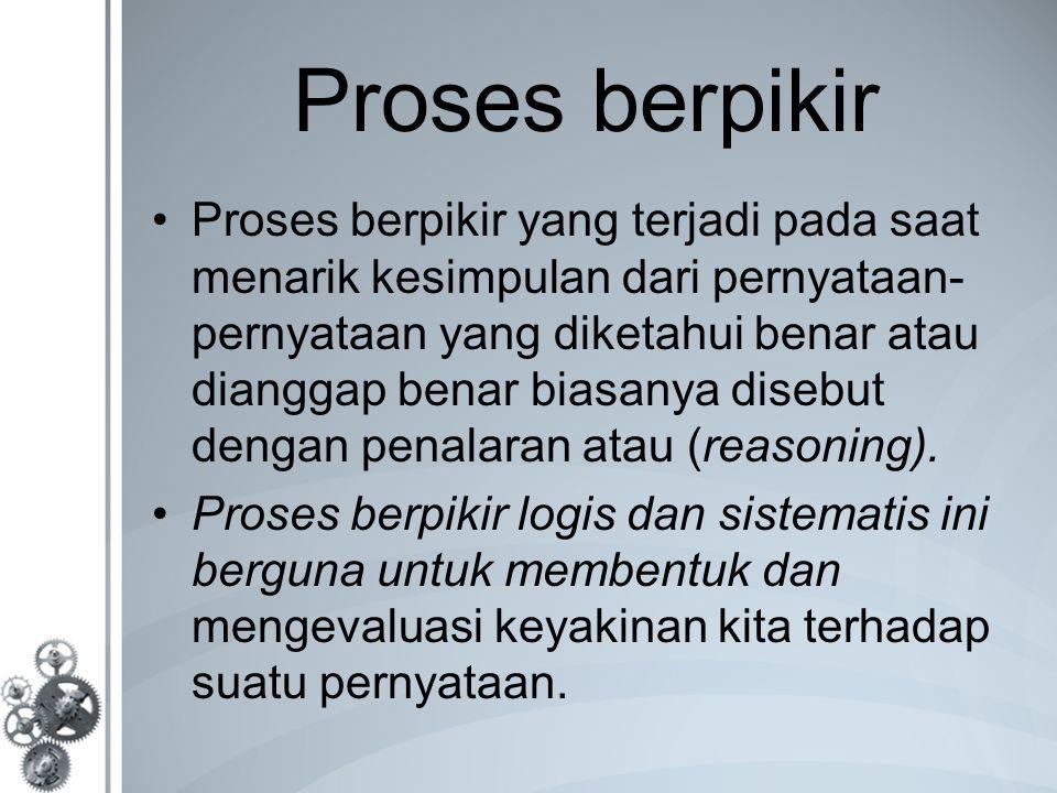 Proses berpikir Proses berpikir yang terjadi pada saat menarik kesimpulan dari pernyataan- pernyataan yang diketahui benar atau dianggap benar biasanya disebut dengan penalaran atau (reasoning).