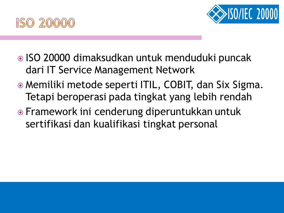 ISO 20000 dimaksudkan untuk menduduki puncak dari IT Service Management Network  Memiliki metode seperti ITIL, COBIT, dan Six Sigma. Tetapi beroper