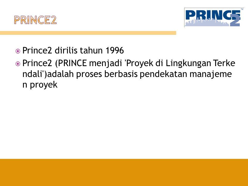  Prince2 dirilis tahun 1996  Prince2 (PRINCE menjadi 'Proyek di Lingkungan Terke ndali')adalah proses berbasis pendekatan manajeme n proyek