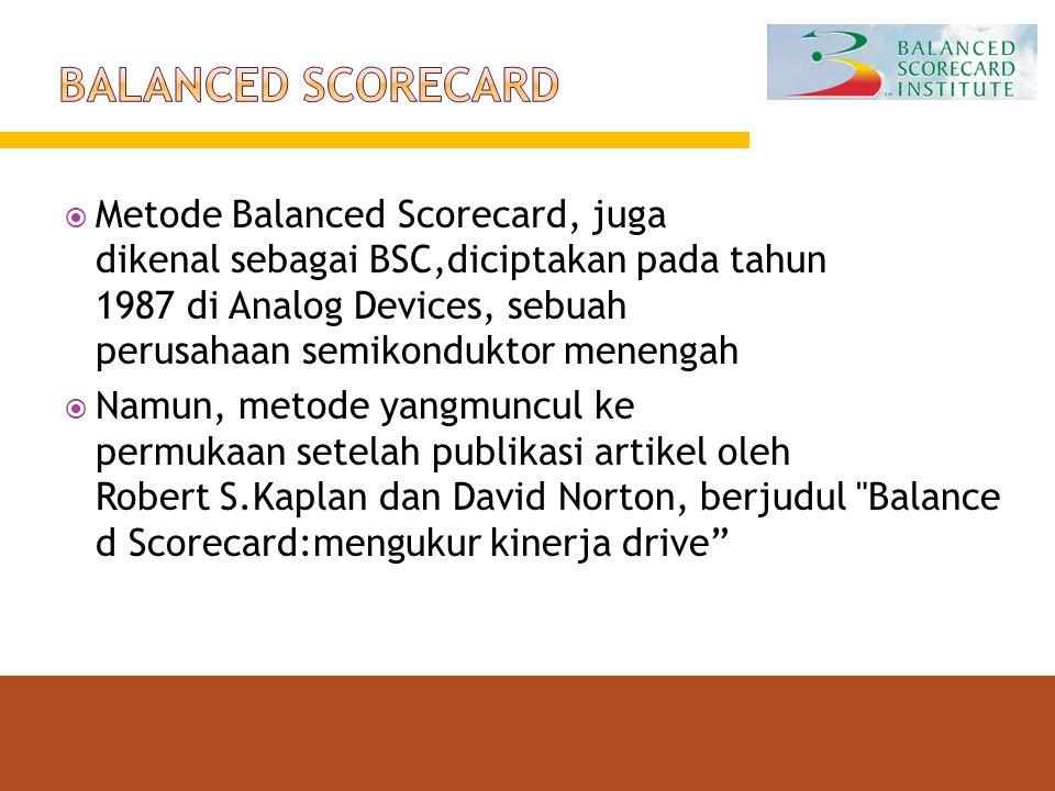  Metode Balanced Scorecard, juga dikenal sebagai BSC,diciptakan pada tahun 1987 di Analog Devices, sebuah perusahaan semikonduktor menengah  Namun,