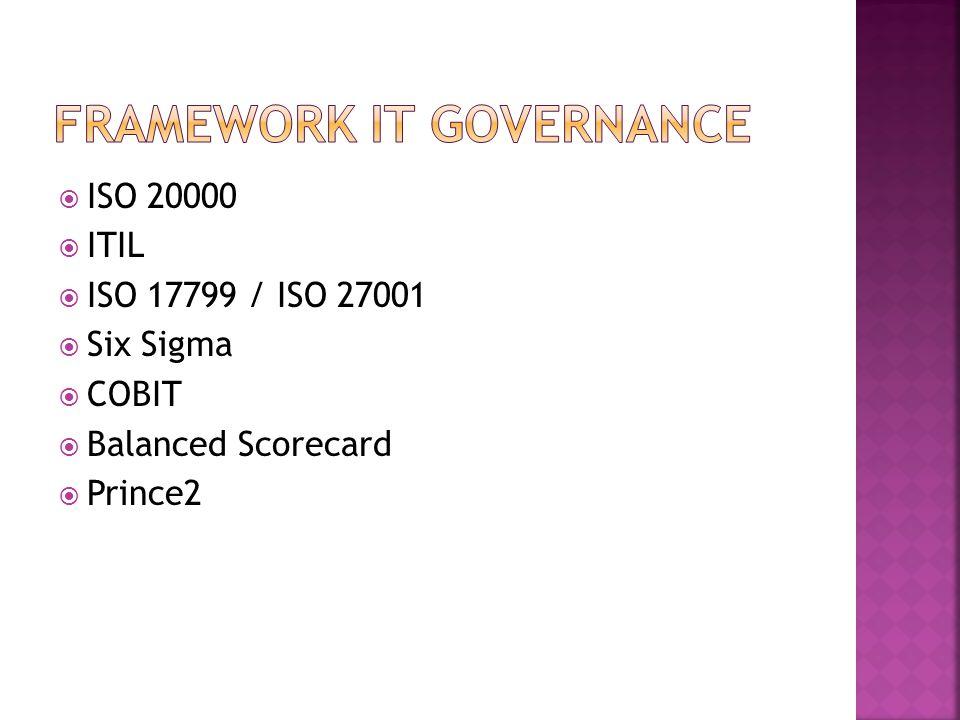  ISO 20000  ITIL  ISO 17799 / ISO 27001  Six Sigma  COBIT  Balanced Scorecard  Prince2