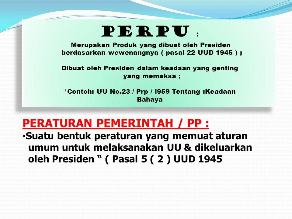 """PERATURAN PEMERINTAH / PP : Suatu bentuk peraturan yang memuat aturan umum untuk melaksanakan UU & dikeluarkan oleh Presiden """" ( Pasal 5 ( 2 ) UUD 194"""