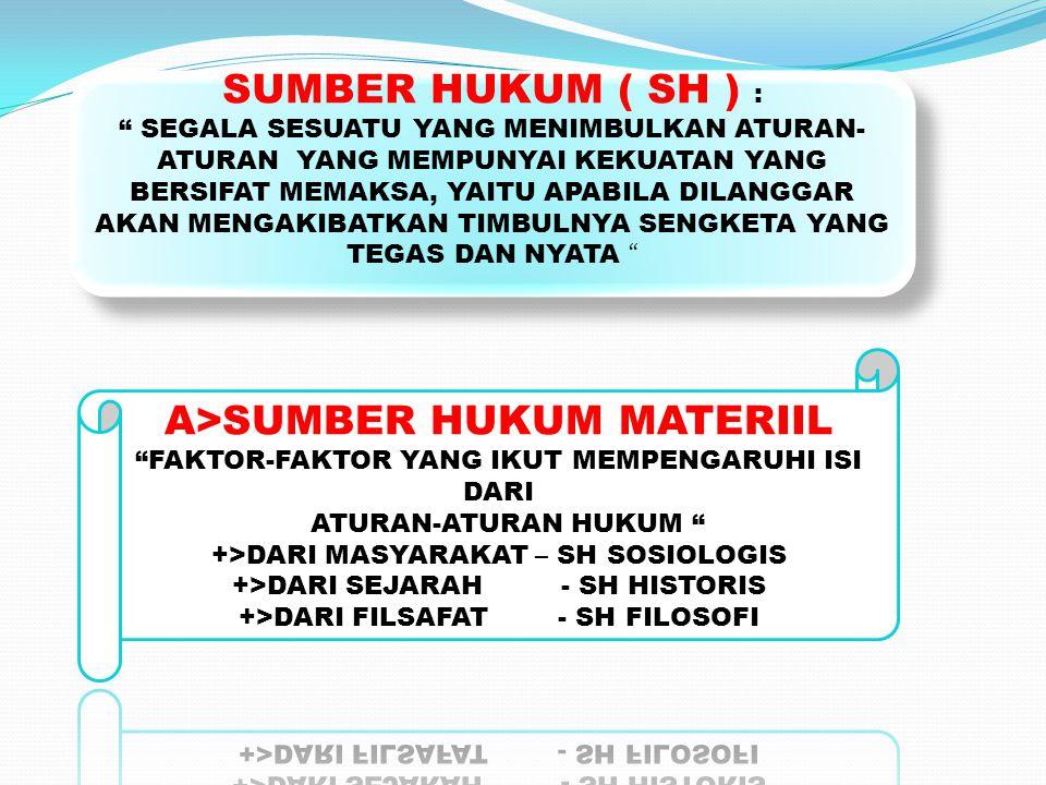 SUMBER HUKUM MATERIIL SH SOSIOLOGIS SH HISTORIS SH FILOSOFIS FORMIL TERTULIS TIDAK TERTULIS SUMBER HUKUM MATERIIL SH SOSIOLOGIS SH HISTORIS SH FILOSOFIS FORMIL TERTULIS TIDAK TERTULIS SUMBER HUKUM FORMIL SUMBER HUKUM YANG BERASAL DARI ATURAN- ATURAN HUKUM YANG SUDAH MEMPUNYAI BENTUK SEBAGAI PERNYATAAN BERLAKUNYA HUKUM SUMBER HUKUM FORMIL SUMBER HUKUM YANG BERASAL DARI ATURAN- ATURAN HUKUM YANG SUDAH MEMPUNYAI BENTUK SEBAGAI PERNYATAAN BERLAKUNYA HUKUM