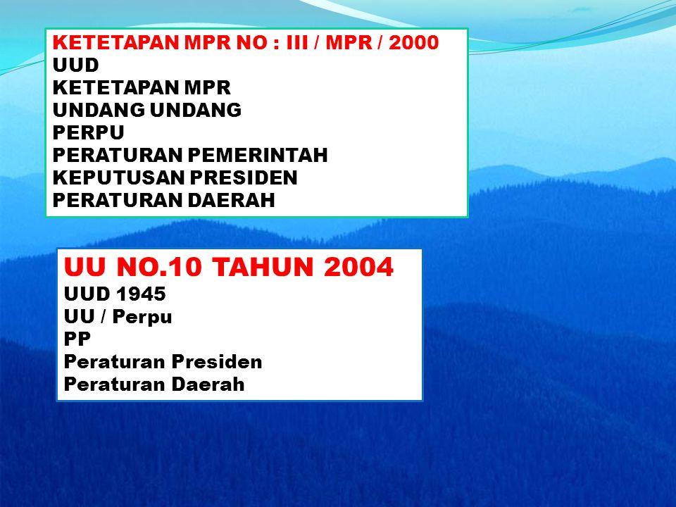 KETETAPAN MPR NO : III / MPR / 2000 UUD KETETAPAN MPR UNDANG UNDANG PERPU PERATURAN PEMERINTAH KEPUTUSAN PRESIDEN PERATURAN DAERAH UU NO.10 TAHUN 2004