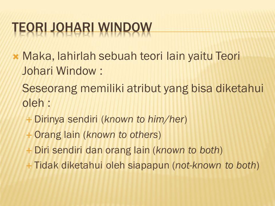  Maka, lahirlah sebuah teori lain yaitu Teori Johari Window : Seseorang memiliki atribut yang bisa diketahui oleh :  Dirinya sendiri (known to him/h