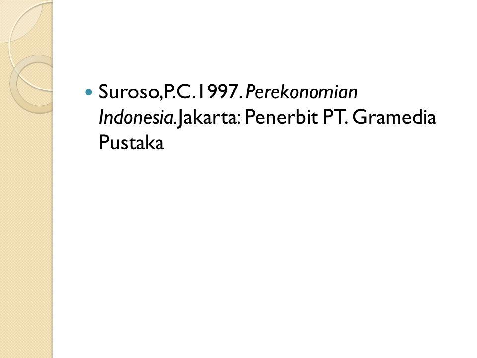 Suroso,P.C.1997. Perekonomian Indonesia.Jakarta: Penerbit PT. Gramedia Pustaka