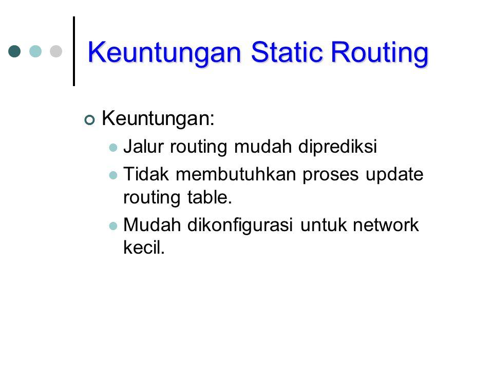 Keuntungan Static Routing Keuntungan: Jalur routing mudah diprediksi Tidak membutuhkan proses update routing table. Mudah dikonfigurasi untuk network
