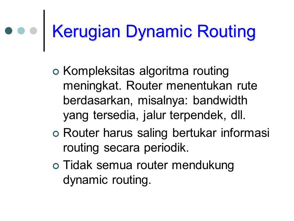 Kerugian Dynamic Routing Kompleksitas algoritma routing meningkat. Router menentukan rute berdasarkan, misalnya: bandwidth yang tersedia, jalur terpen