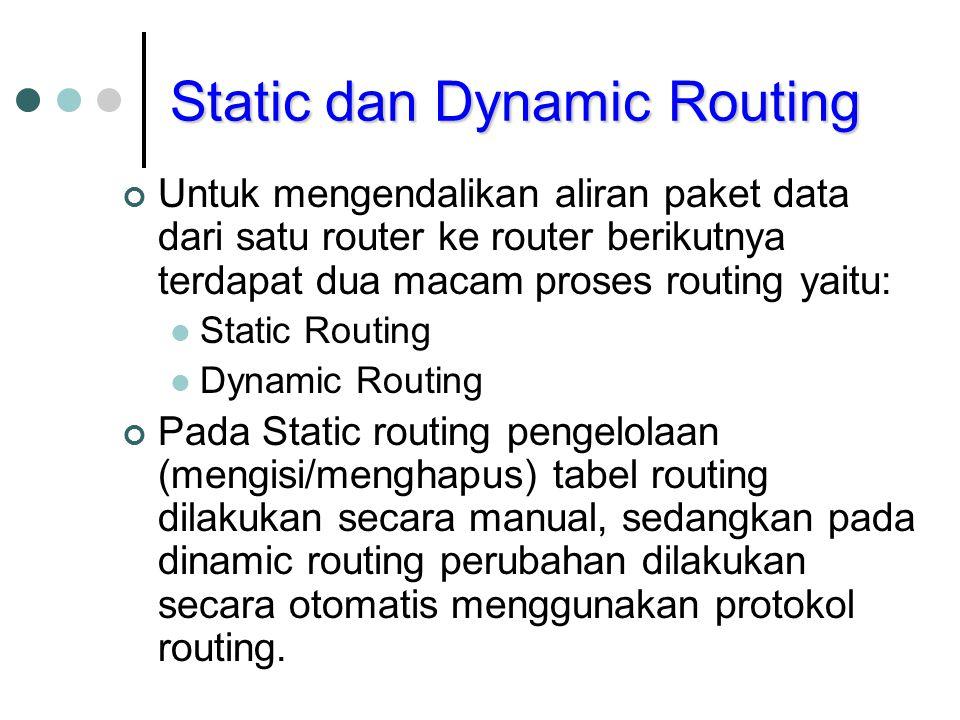 Static dan Dynamic Routing Untuk mengendalikan aliran paket data dari satu router ke router berikutnya terdapat dua macam proses routing yaitu: Static