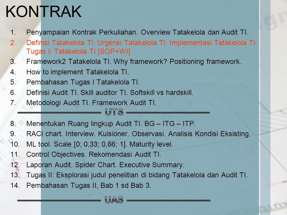 KONTRAK 1.Penyampaian Kontrak Perkuliahan. Overview Tatakelola dan Audit TI. 2.Definisi Tatakelola TI. Urgensi Tatakelola TI. Implementasi Tatakelola