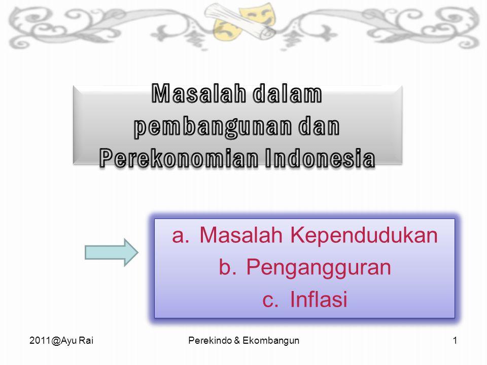 a.Masalah Kependudukan b.Pengangguran c.Inflasi a.Masalah Kependudukan b.Pengangguran c.Inflasi 2011@Ayu RaiPerekindo & Ekombangun1