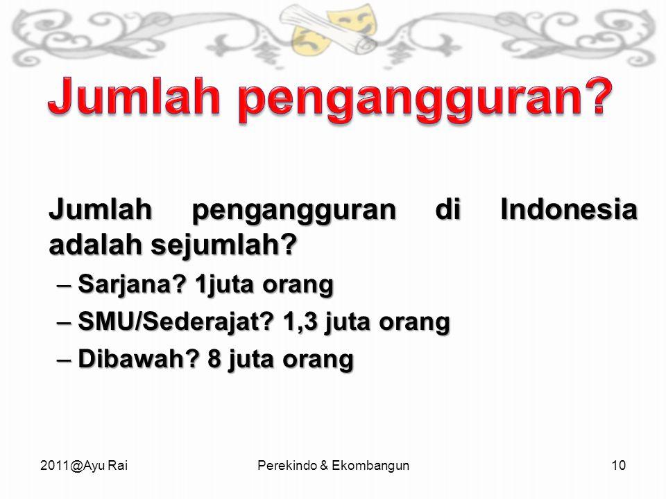 Jumlah pengangguran di Indonesia adalah sejumlah.–Sarjana.