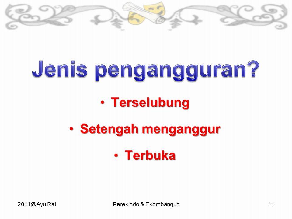 TerselubungTerselubung Setengah menganggurSetengah menganggur TerbukaTerbuka 2011@Ayu RaiPerekindo & Ekombangun11