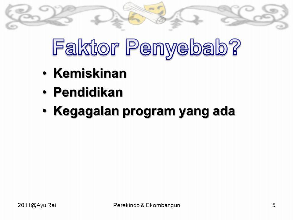 KemiskinanKemiskinan PendidikanPendidikan Kegagalan program yang adaKegagalan program yang ada 2011@Ayu RaiPerekindo & Ekombangun5