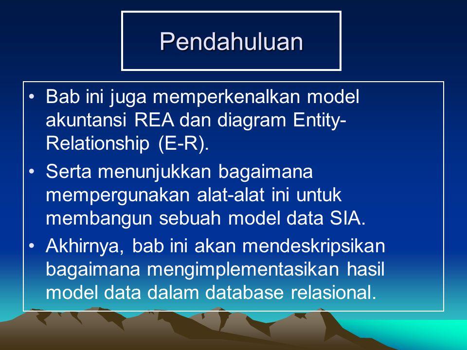Pendahuluan Bab ini juga memperkenalkan model akuntansi REA dan diagram Entity- Relationship (E-R). Serta menunjukkan bagaimana mempergunakan alat-ala