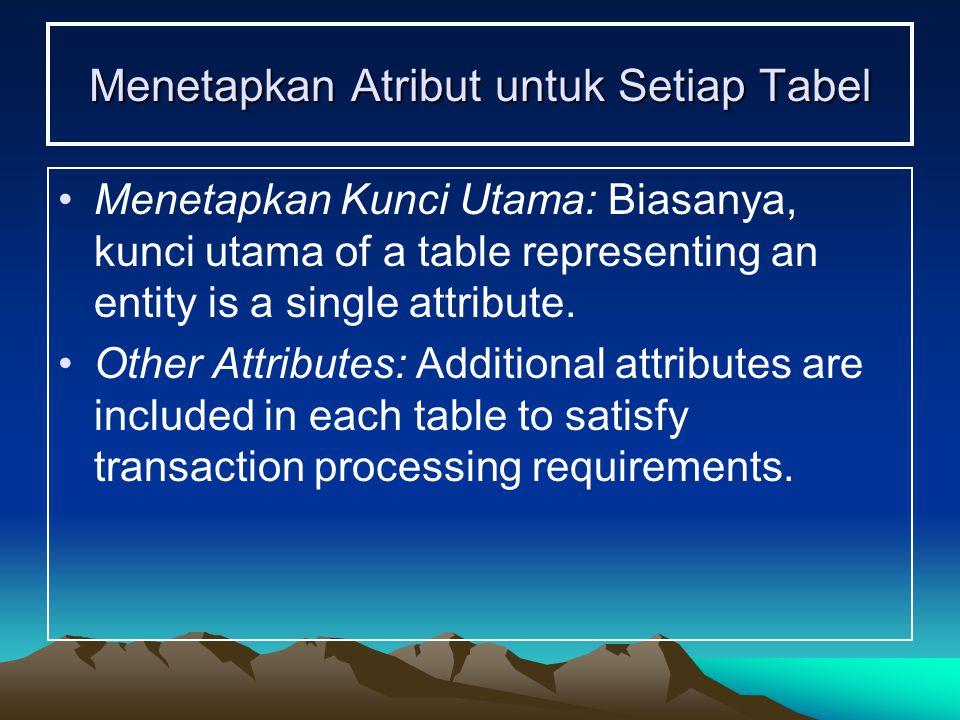 Menetapkan Atribut untuk Setiap Tabel Menetapkan Kunci Utama: Biasanya, kunci utama of a table representing an entity is a single attribute.