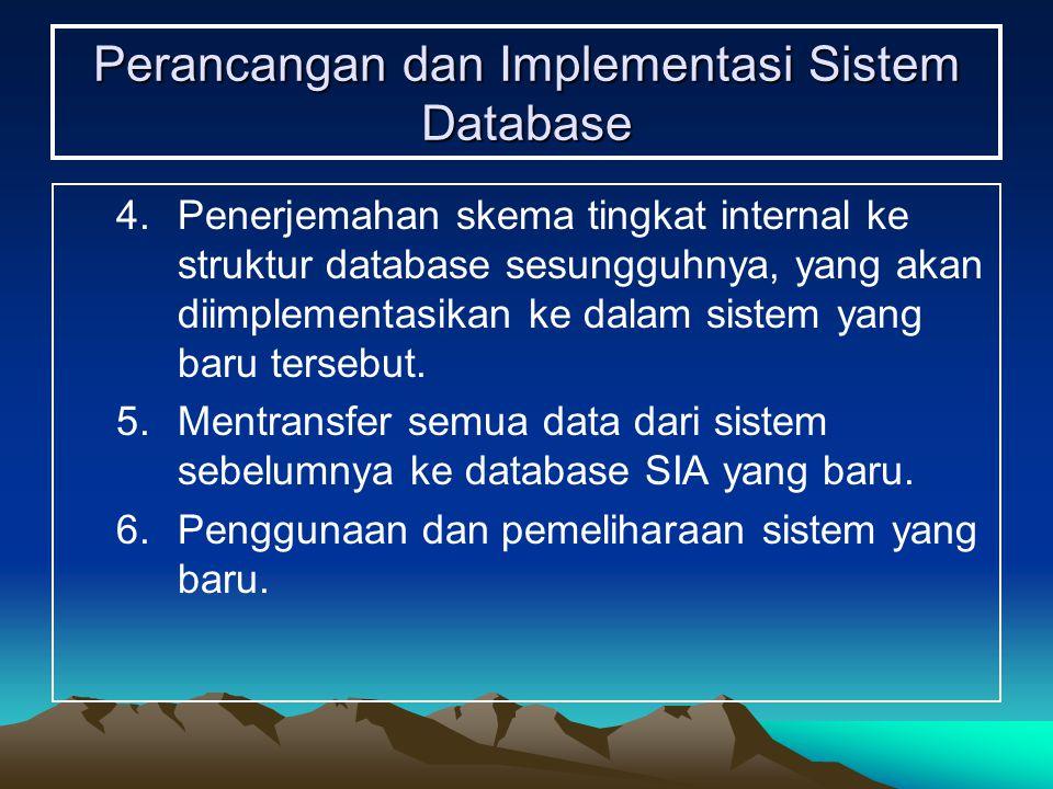 Perancangan dan Implementasi Sistem Database 4.Penerjemahan skema tingkat internal ke struktur database sesungguhnya, yang akan diimplementasikan ke d