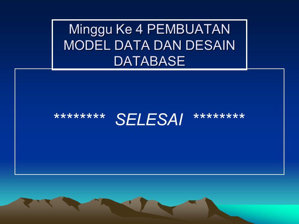 Minggu Ke 4 PEMBUATAN MODEL DATA DAN DESAIN DATABASE ******** SELESAI ********