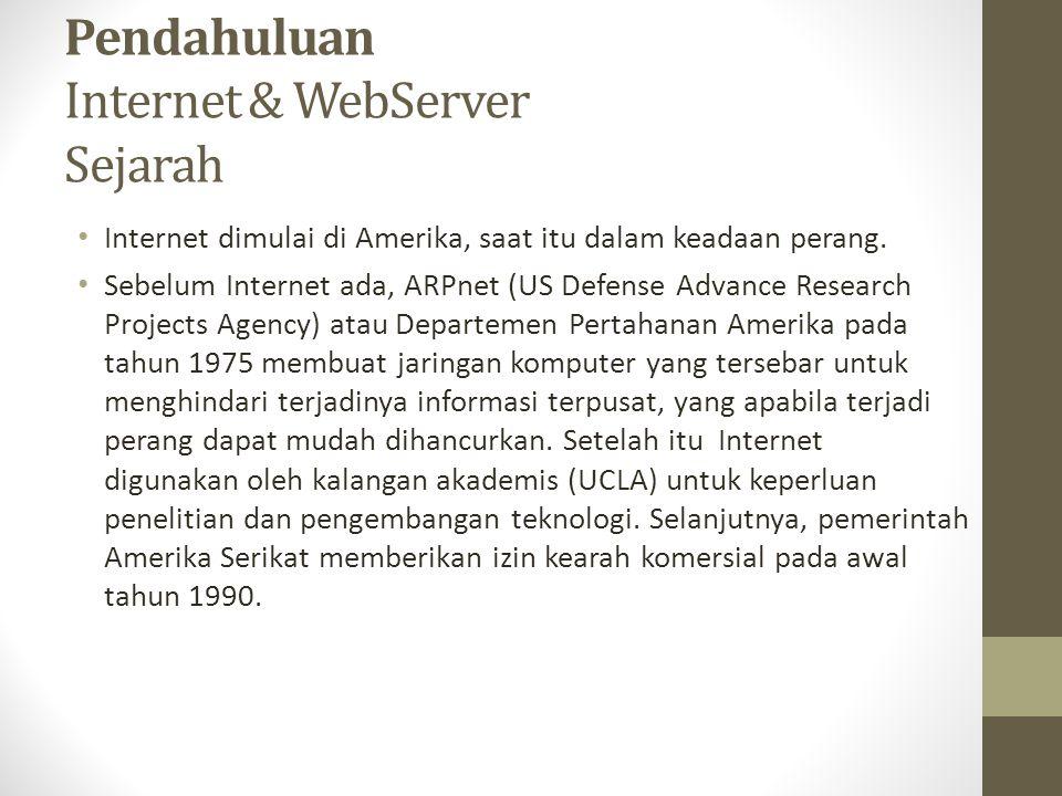 Pendahuluan Internet & WebServer Sejarah Internet dimulai di Amerika, saat itu dalam keadaan perang. Sebelum Internet ada, ARPnet (US Defense Advance