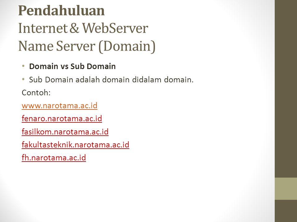 Pendahuluan Internet & WebServer Name Server (Domain) Domain vs Sub Domain Sub Domain adalah domain didalam domain. Contoh: www.narotama.ac.id fenaro.