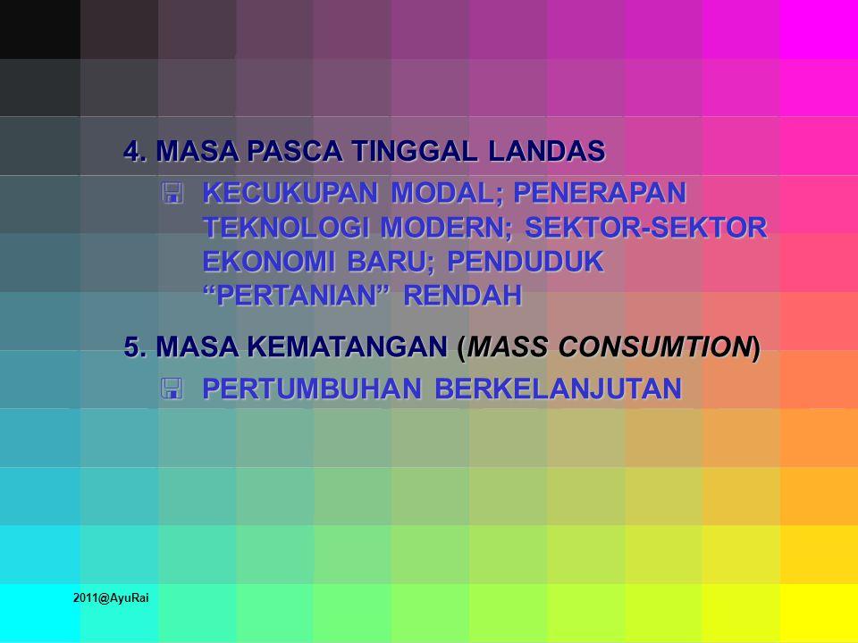 4.MASA PASCA TINGGAL LANDAS  KECUKUPAN MODAL; PENERAPAN TEKNOLOGI MODERN; SEKTOR-SEKTOR EKONOMI BARU; PENDUDUK PERTANIAN RENDAH 5.MASA KEMATANGAN (MASS CONSUMTION)  PERTUMBUHAN BERKELANJUTAN 2011@AyuRai