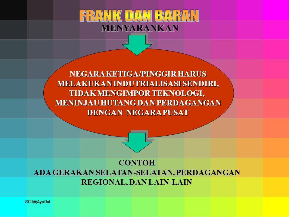 MENYARANKAN NEGARA KETIGA/PINGGIR HARUS MELAKUKAN INDUTRIALISASI SENDIRI, TIDAK MENGIMPOR TEKNOLOGI, MENINJAU HUTANG DAN PERDAGANGAN DENGAN NEGARA PUSAT CONTOH ADA GERAKAN SELATAN-SELATAN, PERDAGANGAN REGIONAL, DAN LAIN-LAIN 2011@AyuRai