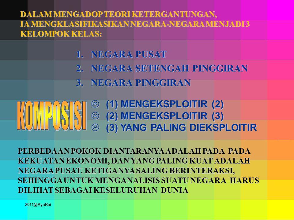 DALAM MENGADOP TEORI KETERGANTUNGAN, IA MENGKLASIFIKASIKAN NEGARA-NEGARA MENJADI 3 KELOMPOK KELAS: 1.NEGARA PUSAT 2.NEGARA SETENGAH PINGGIRAN 3.NEGARA PINGGIRAN L (1) MENGEKSPLOITIR (2) L (2) MENGEKSPLOITIR (3) L (3) YANG PALING DIEKSPLOITIR PERBEDAAN POKOK DIANTARANYA ADALAH PADA PADA KEKUATAN EKONOMI, DAN YANG PALING KUAT ADALAH NEGARA PUSAT.