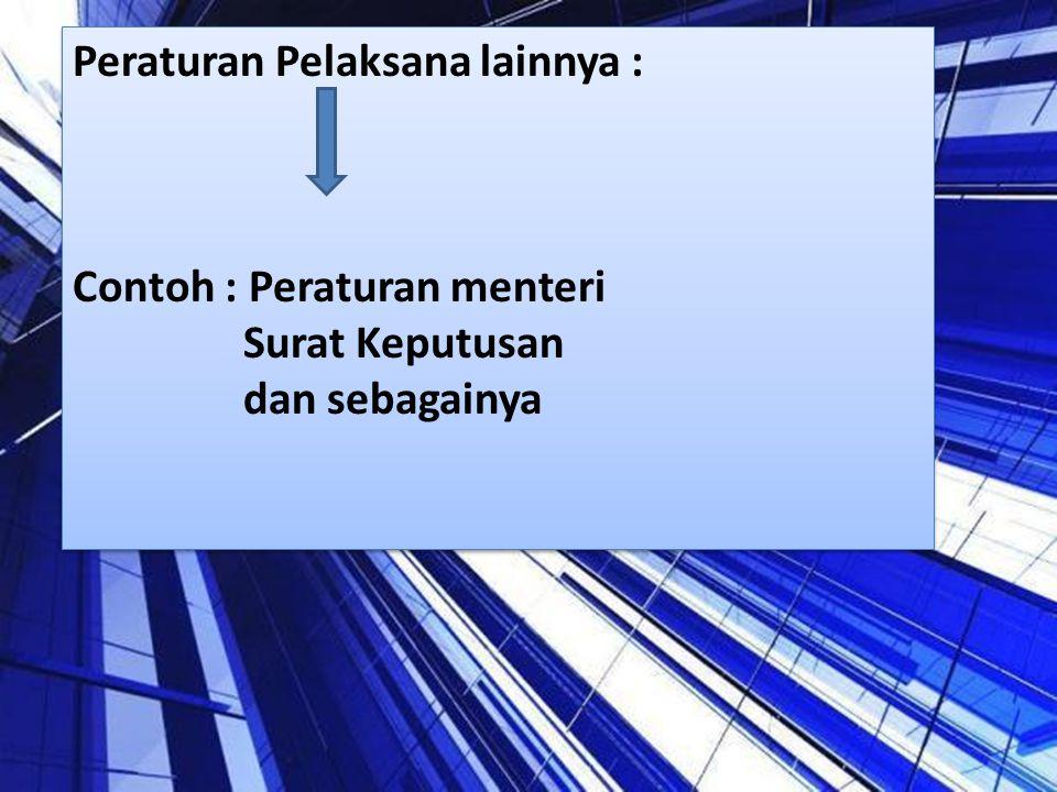 Peraturan Pelaksana lainnya : Contoh : Peraturan menteri Surat Keputusan dan sebagainya Peraturan Pelaksana lainnya : Contoh : Peraturan menteri Surat