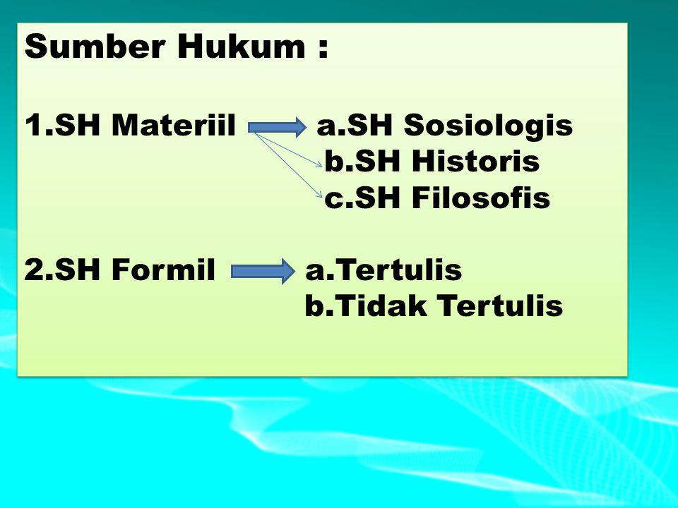 Sumber Hukum : 1.SH Materiil a.SH Sosiologis b.SH Historis c.SH Filosofis 2.SH Formil a.Tertulis b.Tidak Tertulis Sumber Hukum : 1.SH Materiil a.SH So