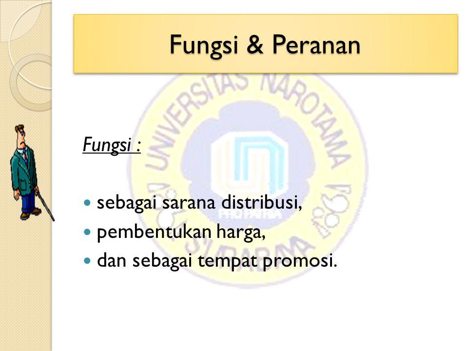 Fungsi & Peranan Fungsi : sebagai sarana distribusi, pembentukan harga, dan sebagai tempat promosi.