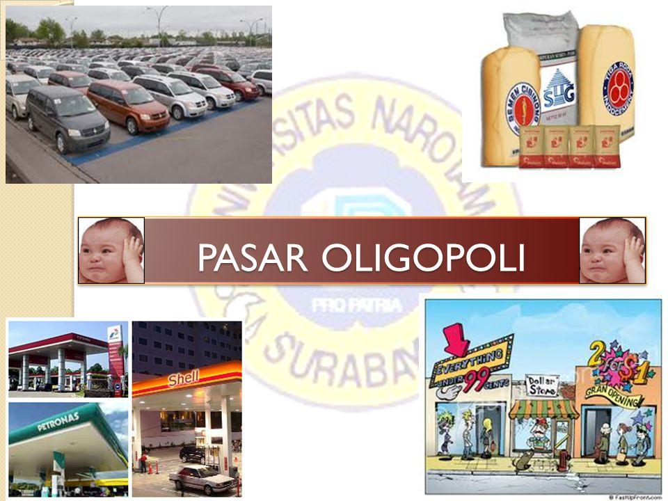 Pasar Oligopoli adalah suatu bentuk pasar yang terdapat beberapa penjual dimana salah satu atau beberapa penjual bertindak sebagai pemilik pasar terbesar (price leader).