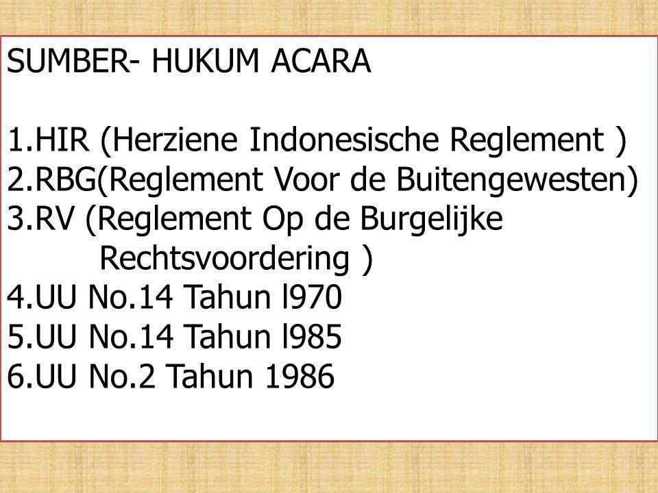 SUMBER- HUKUM ACARA 1.HIR (Herziene Indonesische Reglement ) 2.RBG(Reglement Voor de Buitengewesten) 3.RV (Reglement Op de Burgelijke Rechtsvoordering