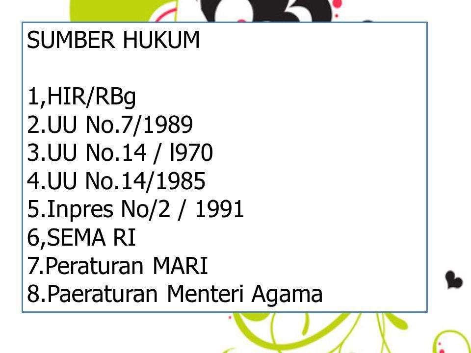 SUMBER HUKUM 1,HIR/RBg 2.UU No.7/1989 3.UU No.14 / l970 4.UU No.14/1985 5.Inpres No/2 / 1991 6,SEMA RI 7.Peraturan MARI 8.Paeraturan Menteri Agama