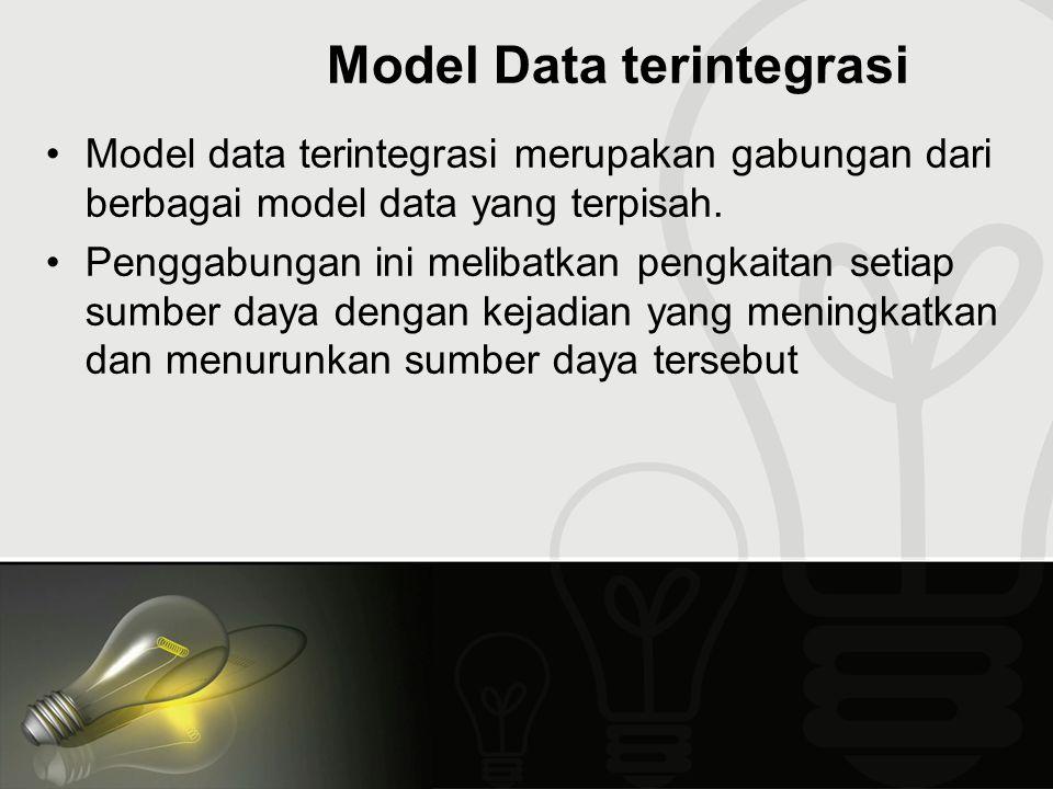 Model Data terintegrasi Model data terintegrasi merupakan gabungan dari berbagai model data yang terpisah. Penggabungan ini melibatkan pengkaitan seti