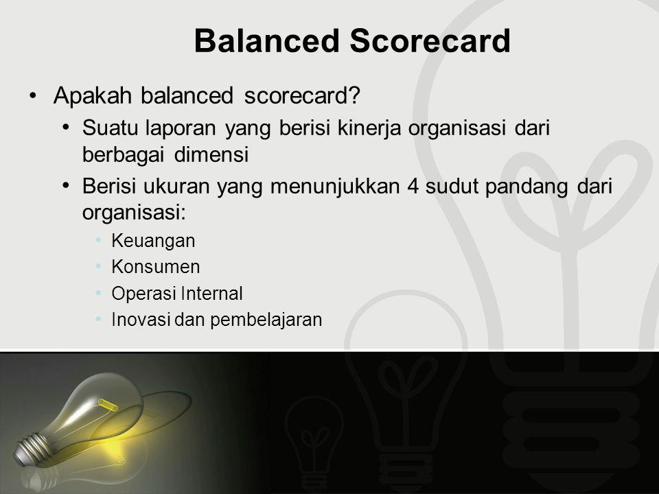Balanced Scorecard Apakah balanced scorecard? Suatu laporan yang berisi kinerja organisasi dari berbagai dimensi Berisi ukuran yang menunjukkan 4 sudu