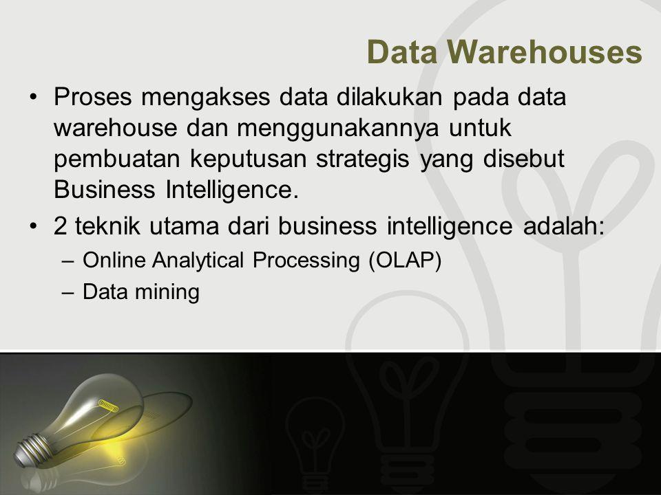 Proses mengakses data dilakukan pada data warehouse dan menggunakannya untuk pembuatan keputusan strategis yang disebut Business Intelligence. 2 tekni