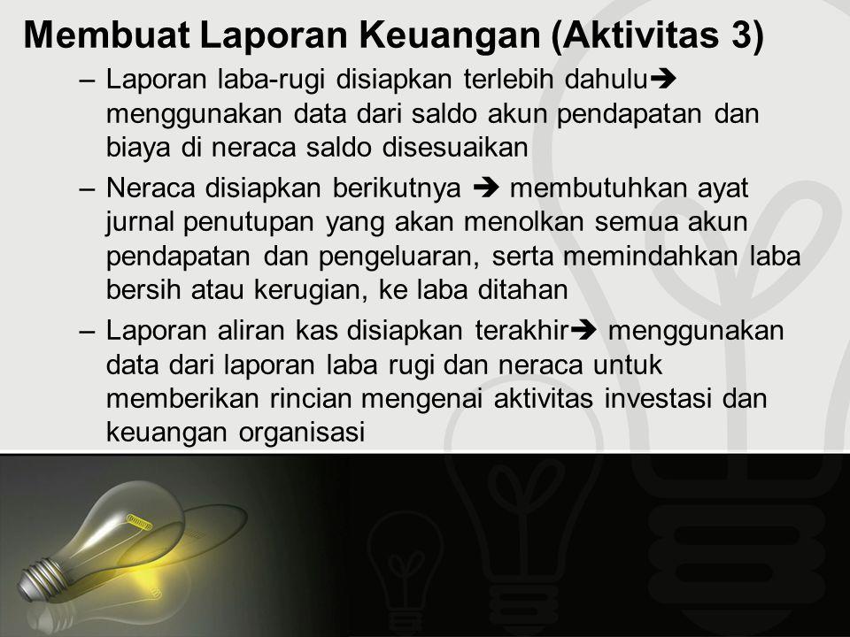 Membuat Laporan Keuangan (Aktivitas 3) –Laporan laba-rugi disiapkan terlebih dahulu  menggunakan data dari saldo akun pendapatan dan biaya di neraca